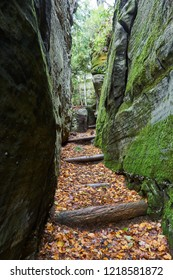 Steps through narrow crevice between large rocks in Allegheny National Forest. The rock walls are covered with moss, with autumn leaves on the ground.