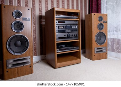 Stereo Audio Components Tower Rack including Speakers