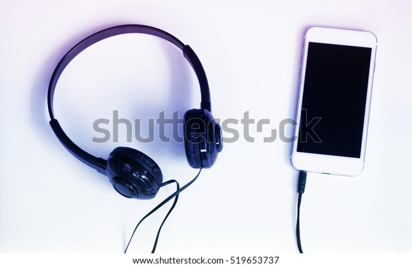Stereo Headphones Mobile Phone Online Music Stock Photo