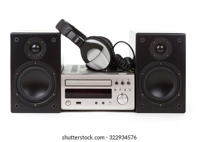 stereo with headphones over white background