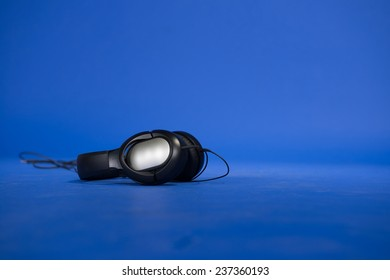 Stereo headset against background in studio closeup