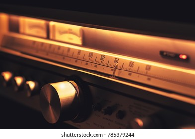Stereo radio FM scale with vintage dials closeup