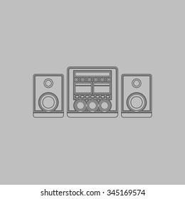 Stereo system. Flat outline icon on grey background