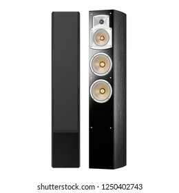 Stereo System Isolated on White. Speakers Pair. Acoustic Audio Data Surround Sound Home Theatre System with Subwoofer and Cone Woofer 5-Channel Output. 5.1 Ch Speaker Pack. Floorstanding Loudspeakers