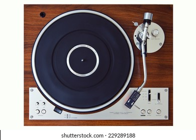 Stereo Turntable Vinyl Record Player Analog Retro Vintage Top View