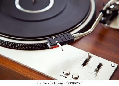 Stereo Turntable Vinyl Record Player Analog Retro Vintage Closeup