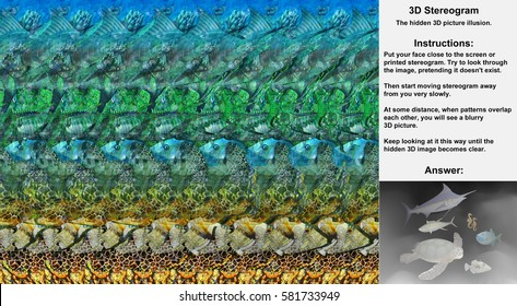 Stereogram illusion with sea turtle, fish and sea horses in hidden 3D picture