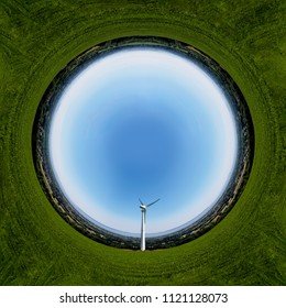 Stereographic panoramic projection  view of a Wind turbine in the Welsh Countryside above Newport on a sunny day