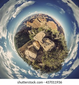 Stereographic projection of full 360 degree panoramic picture of Grand Canyon South Rim, Grandview Point, Arizona, USA, Vintage filtered style