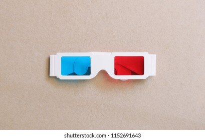 stereography anaglyph 3d glasses on brown paper