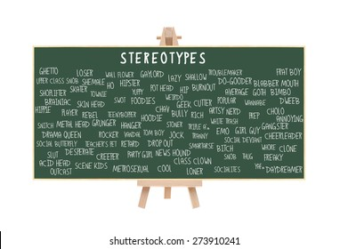 Stereotype Chalkboard on Easel (Nerd, Brainiac, Cutter, Metrosexual, Wall Flower, Geek, Pothead, Snob, Thug, Ghetto, Outcast, Acid Head, Social Deviant, Tranny, Artsy, Skater) isolated on white