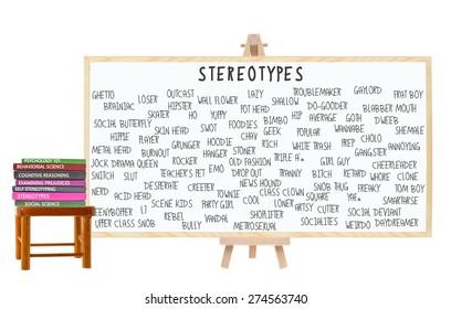 Stereotypes Blackboard: Geek, Nerd, Jock, Metrosexual, Hippy, Bimbo, Outcast, Dropout, EMO, Skater, Prep, Square, Ghetto, Drama Queen. Books on Stool