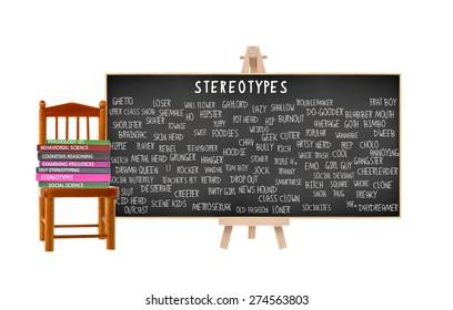 Stereotypes Blackboard: Geek, Nerd, Jock, Metrosexual, Hippy, Bimbo, Outcast, Dropout, EMO, Skater, Prep, Square, Ghetto, Drama Queen. Books on Chair (Psychology, Social Science, Behaviorial)