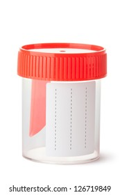 Sterile medical container for biomaterial. Isolated on a white.