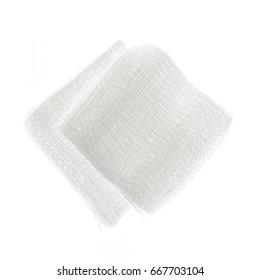 Sterile Pads aus medizinischer Gastronomie einzeln auf weißem Hintergrund