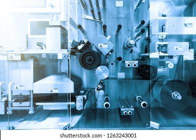 sterile production of medical drugsp. Blue tone. Blue tint