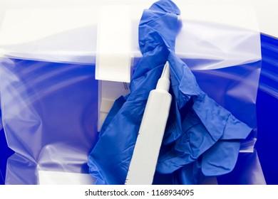 Sterile ultrasonography set. Transducer cover, medical gloves, ultrasound gel