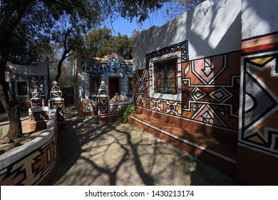 Sterkfontein DMA, South Africa May 22,2019 : Lesedi Cultural Village is located in the heart of the African bushveld amidst the rocky hills within the Cradle of Humankind, a World Heritage Site.
