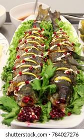 sterlet fish, sturgeon (Acipenser ruthenus) prepared in oven