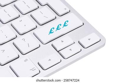Sterling, british pound sign button on keyboard, money concept