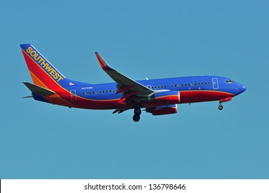 STERLING, USA - NOVEMBER 9, 2011: Southwest Airlines Boeing 737 lands at Dulles International Airport. Southwest Airlines is a major US airline and the world's largest low-cost carrier.