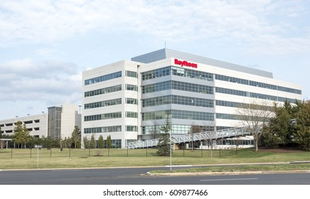 Sterling, VA, USA - March 27, 2017: Raytheon office building in Sterling Virginia. Raytheon is a U.S. Defense Contractor.