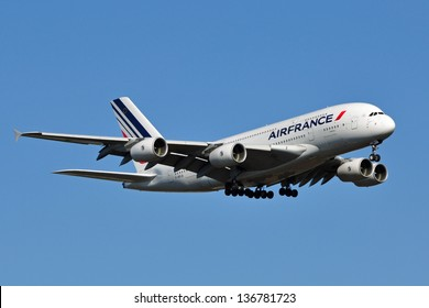 STERLING, VA, USA - NOVEMBER 12, 2011: Air France A380 landing at Washington Dulles International Airport. Air France is the French flag carrier headquartered in Tremblay-en-France.
