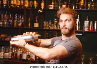 A stern bartender mixes a cocktail in a shaker