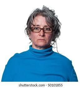 Stern look from this middle aged woman