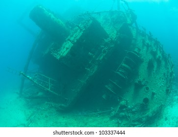 Stern section of a large underwater sunken shipwreck
