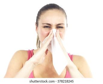 Sternutative ill woman