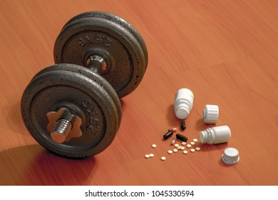 Steroid pills and capsules with dumbbell weight in the background - doping in sport.