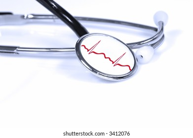 stethoscope in blue lights with a heart graph on it...health concept