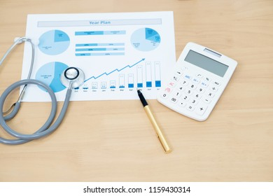 Stethoscope with business graph and calculator