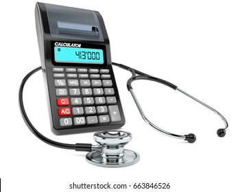 Stethoscope with calculator isolated on white background. 3d illustration