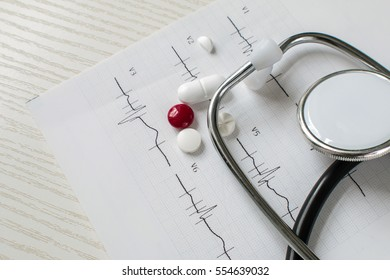stethoscope, cardiogram and pills doctor Working Tools
