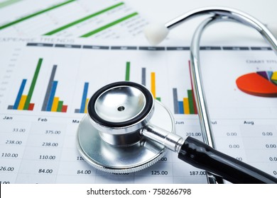 Stethoscope, Charts and Graphs paper. Financial, Accounting, Statistics, Investment, Analytic research data and Business company meeting concept.