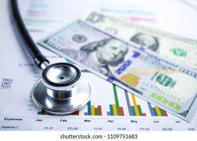 Stethoscope, Charts and Graphs paper,US dollar money, Finance, Account, Statistics, Investment, Analytic research data economy spreadsheet and Business company meeting concept.