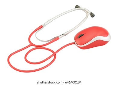 stethoscope with computer mouse, medical help online concept. 3D rendering