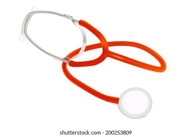 Stethoscope of doctor with red rubber elements. Photo realistic illustration. Isolated on white.