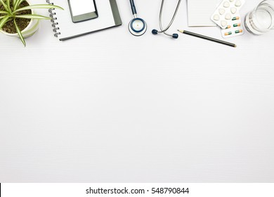 Stethoscope in doctors desk