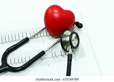 Stethoscope, Electrocardiography (ECG or EKG) and Heart Isolated on the White Background
