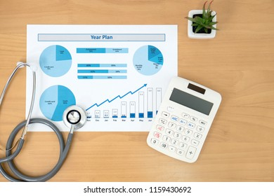 Stethoscope with financial statement, calculator
