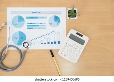 Stethoscope with financial statement, calculator and pen