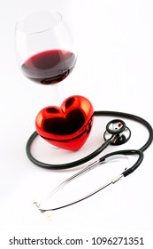 stethoscope, glass of wine and heart