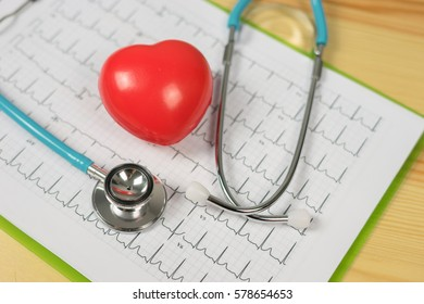 Stethoscope head and  heart cardiogram on clipboard pad. Cardio therapeutist assistance, physician make cardiac physical, pulse beat measure document, arrhythmia  pacemaker medical healthcare concept