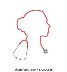 Stethoscope head woman / 3D illustration of stethoscope tubing forming female head