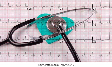 Stethoscope & heart & ecg graph