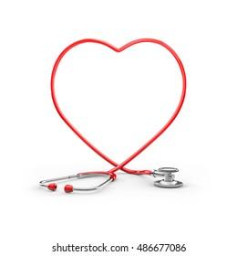 Stethoscope heart frame / 3D illustration of stethoscope tubing forming heart shape