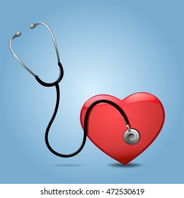 Stethoscope And Heart, Isolated On blue Background,  Illustration